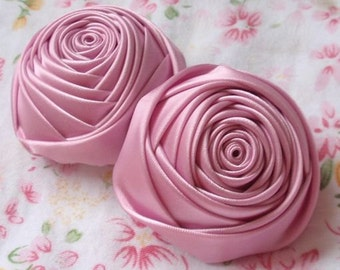 2 Handmade Ribbon Rolled Roses (2 inches) in Tulip MY-012 -015 Ready To Ship