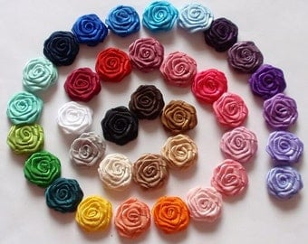 36 Small Handmade Roses (3/4 inches) In Multicolor MY-30-27 Ready To Ship