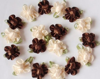 20 Handmade Flowers In Brown Cream MY-042- 012 Ready To Ship