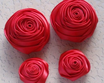 4 Handmade Rolled Roses (2 inches,1-1/4 inch) in Red  MY-060-40 Ready To Ship