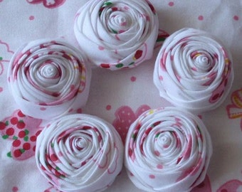 5 Handmade Rolled Roses (1.5 inches) in White And Pink MY- 063- 01 Ready To Ship