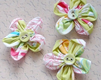 3 Handmade Flowers With Button (1-3/4 inches)  MY-065 - 01 Ready To Ship