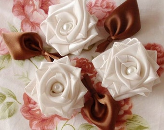 3 Handmade Ribbon Roses With Leaves (2 inches) In Cream, Brown  MY-98-02  Ready to Ship