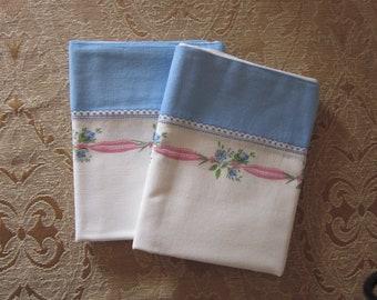 Flour Sack Pillow Cases Vintage 1940's