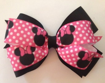 5 Inch Double Layer Disney Minnie Mouse Hair Bow