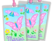 Set of 3 Kid's Butterfly Fields Personalized Luggage Tag Backpack & Name Tag  by New Speed Limit