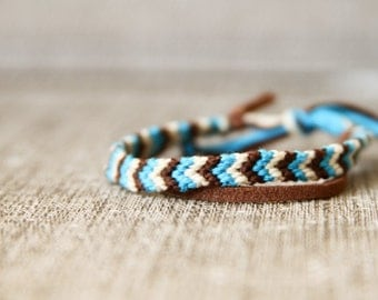 Friendship Bracelet Ivory, Turquoise and Brown Chevron Cord Knotted Fiber