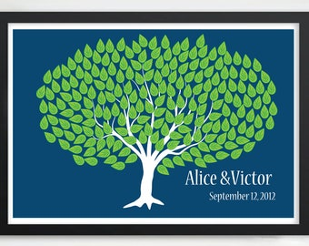 Summer Wedding Tree Guest Book Alternative Personalized Keepsake Print with 200 Green Textured Signature Leaves - 20x30