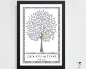 Wedding Tree Guest Book Personalized Art Poster // 2 Love Birds // Victorian Wish Tree // Summer / Fall Tree // 160 Guest // 20x30