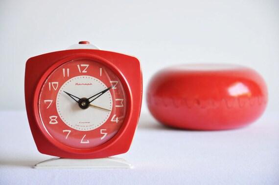 Vintage Unused Red USSR Alarm Clock