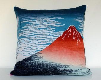 "MOUNT FUJI | Japanese Pillow Cushion Cover Traditional Furoshiki Design 20""x20"" or 50cm x 50cm"