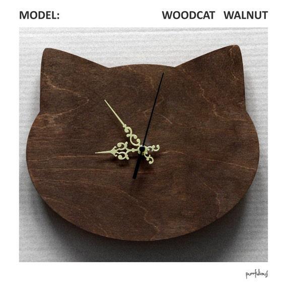 Wooden wall clock in shape of cat's head- walnut