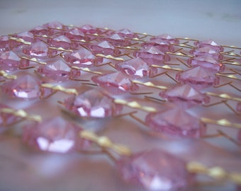 2 Yards Pink Chandelier Crystal Prism Shabby Chic Replacement Crystals Wedding Decor Garland