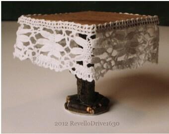 Fairy table, lace, square, dollhouse miniature 1/12