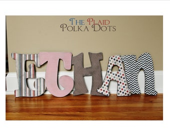 Custom Distressed Wooden Letters for girls or boys - Red, White, Blue, Brown or Custom made to match your decor