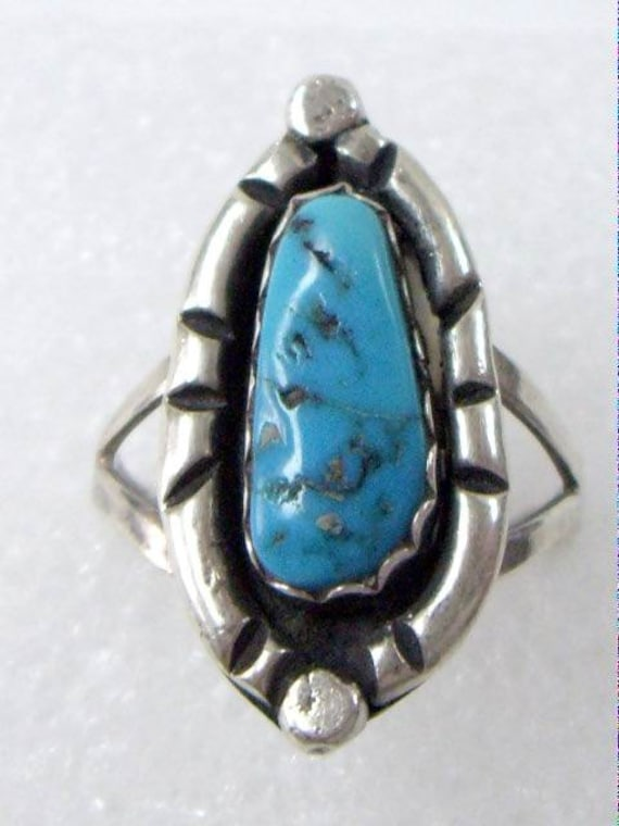 Vintage Native American Navajo Turquoise Silver Signed Ring Size 9