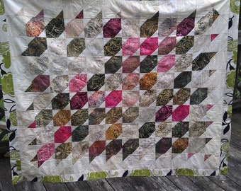 Handmade Berries in the Grass PicnicTravel Quilt Blanket with handle and straps