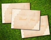 Wedding Thank You Card - Vintage Rustic Formal Elegant Gold Lace Personalized Double Sided Printed Cards