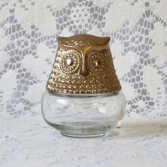 vintage gold and glass owl shaped perfume jar