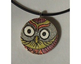 Owl art pendant, ooak, hand drawn, hand painted, original one of a kind pendant, circle, plum, peridot, orange, silver grey