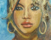 """11 x 14"""" original unframed oil painting of Beyonce"""