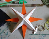 8 inch Hanging Paper Star (orange & white)