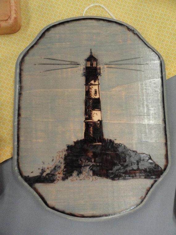 Wood Burned Lighthouse