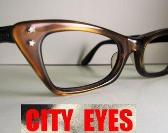 1950s Brown Pearlized Cat Eye optical frames for Eyeglasses or Sunglasses NEW OLD STOCK