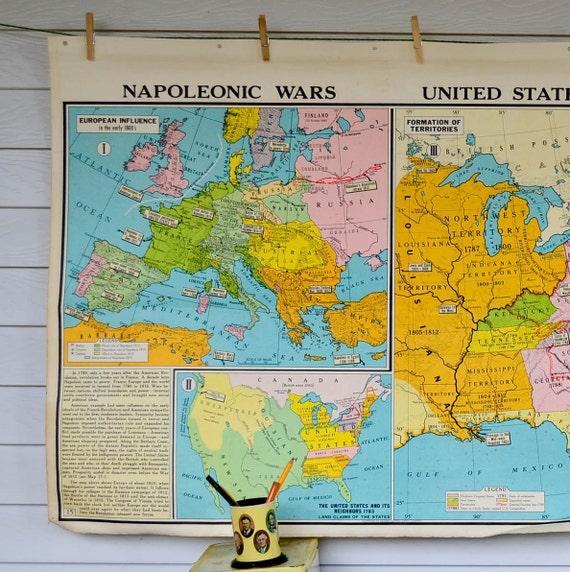 Vintage School Map - United States History Civil War Industrial