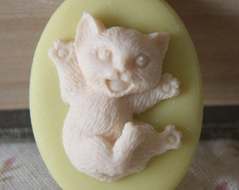 6 pcs of resin cat cameo 30x40mm-high dome-3D-RC0115-light lemon