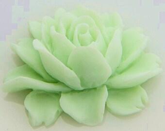 6 pcs of resin smaller size big rose cabochon-23x18x9mmRC0026-44-mint green