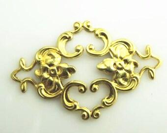 12 pcs of resin vintage victorian brass filigree-36x22mm-1890 -raw brass
