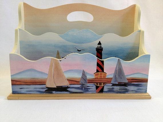 Vintage Wooden Nautical Letter Holder