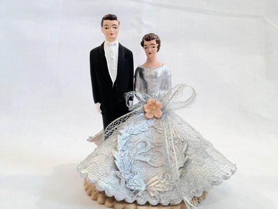 Vintage 25th Wedding Anniversary Cake Topper 1960's