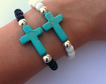 Turquoise Howlite Sideways Cross Beaded Bracelet - Gift Ideas -