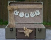 Vintage style green wedding suitcase card holder, cards banner or cards sign your choice