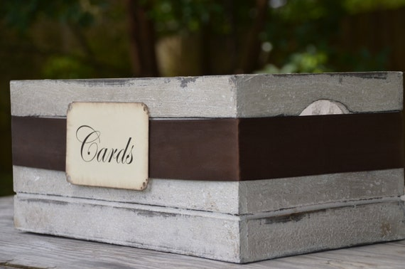 Rustic vintage old crate - wedding card holder box and cards sign