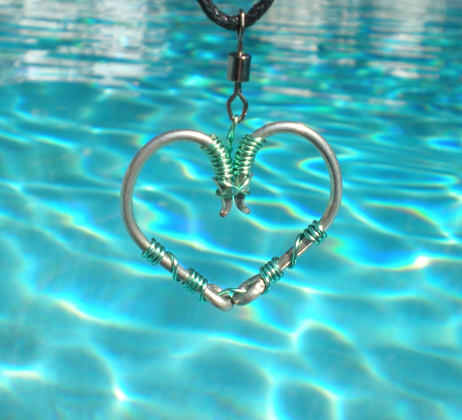 Fish hook heart necklace seafoam green on silver hooks for Fish hook necklace