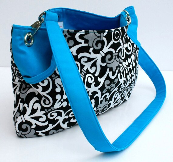 Large Blue and Black Large Front Pocket Bag Shoulder Tote with Grommets and Silver Accents