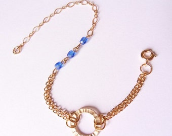 chain bracelet, charm bracelet, blue beaded bracelet, circle bracelet, gold plated bracelet by SABOTAGEandCO
