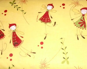 Woodland pixies. Yellow background with red and green pixies.