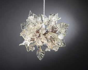 Pendant light with Crystal clear flowers and leaves for hall, bathroom or as a bedside lamp - a unique lighting.