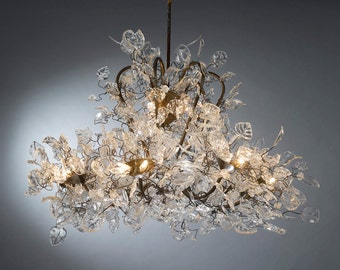 Chandeliers Royal Lighting - Transparent leaves and flowers Ceiling light for living room or store