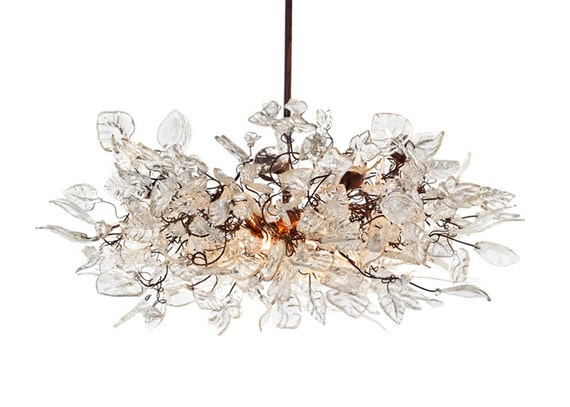 Hanging chandeliers with Natural flowers  and leaves for dinning room table, bedroom or living room.