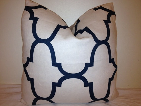 18 x 18 Morrocan Pillow cover - Indigo Blue and White Pillow Cover