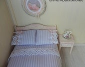 Violet Double Bedding Set, Dollhouse Miniature, 1:12 Scale Dolls House