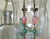 Pink & Green Drop Earrings