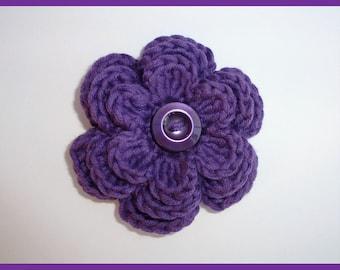 SALE Purple crochet flower brooch