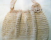 Hobo style - Crochet Bag -reusable grocery or beach bag Beige with red and blue tweed top and flower 100% washable cotton yarn