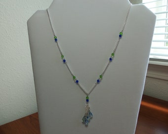 Green and blue crystal drop necklace